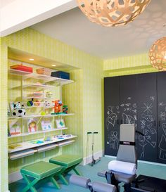 Basement playroom & gym with bright yellow wallpaper, chalkboard painted ...