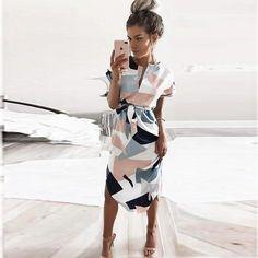 Casual Summer Dress Lady Plus Size Female V Neck Maxi Office Women's Retro Dress With Belt Vestidos Geometric Dress Women Sexy Dresses, Elegant Dresses For Women, Casual Summer Dresses, Beach Dresses, Cute Dresses, Fashion Dresses, Dress Casual, Summer Outfits, Summer Skirts