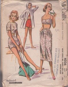 McCall's 4036 Vintage 50's Sewing Pattern MUST HAVE Rockabilly VLV Pinup Bra Top, Bateau Blouse, Shorts, Button Up Skirt & Hooded Beach Coat, Jacket #MOMSPatterns