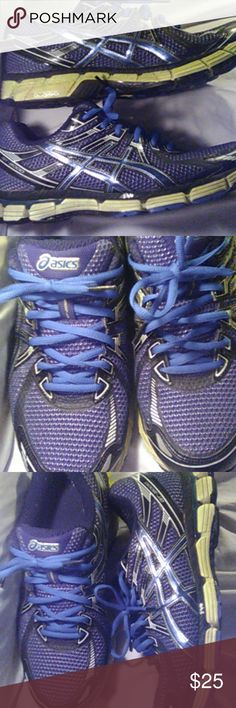 Asics Men 10.5 Blue, black, lime. Used Shoes Sneakers