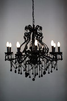 Goth Chandelier! - Black Vintage Chandelier | Foohoo - event furniture hire company. foohoo.co.uk