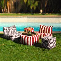 Majestic Home Goods Outdoor Lounge Set in Zig Zag and Vertical Strip Pat…