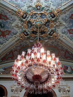 Beautiful chandelier inside Dolmabahce Palace, Istanbul, Turkey #travel
