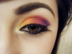 color block eyeshadow. sherbert colors.