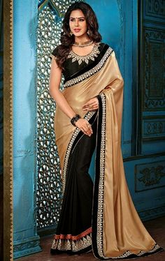 Picture of Fantastic Black and Beige Color Saree for Party