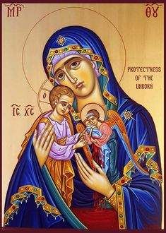 StIPrUnB - Protectress of the Unborn Orthodox Icon Religious Images, Religious Icons, Religious Art, Mary Magdalene And Jesus, Mary And Jesus, Byzantine Icons, Byzantine Art, Madonna, Religious Paintings