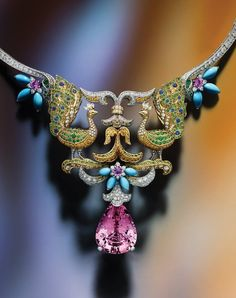 """VAN CLEEF & ARPELS - Peacock Décor Necklace, from the """"Bals de Légende"""" collection, with a pear-shaped Morganite and Diamonds, Turquoise, multicolour Sapphires and Mandarin Tsavorites Garnets set in White and Yellow Gold. Peacock Jewelry, Peacock Necklace, Bird Jewelry, Animal Jewelry, Jewelry Art, Antique Jewelry, Vintage Jewelry, Jewelry Design, Fashion Jewelry"""
