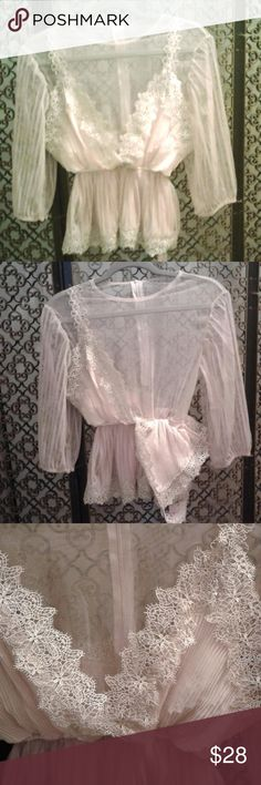 Beautiful Sheer & Lace Chicwish Blouse- Medium This is so sweet and stylish! Sheer zip top with lace and pleated cream polyester overlay. There is no size tag but it seems to be a medium as it is slightly big on my small sized dress form. No flaws. Tag attached. chic wish Tops Blouses