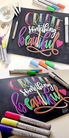 Create something beautiful! This piece was drawn in bright colors and details us… Create something beautiful! This piece was drawn in bright colors and details using chalk and liquid chalk markers. Chalkboard Markers, Chalkboard Lettering, Chalkboard Designs, Hand Lettering Quotes, Creative Lettering, Typography, Brush Lettering, Liquid Chalk Markers, Lettering Tutorial