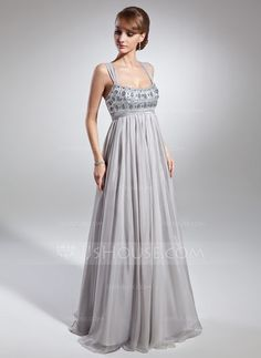 Empire Scoop Neck Floor-Length Ruffle Beading Zipper Up at Side Regular Straps Sleeveless No Silver Summer General Plus Chiffon Holiday Dress