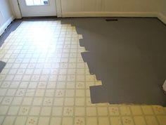 How to paint old linoleum kitchen floors floor painting for Painting vinyl floor tile