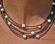 Leather and Pearl Necklace 3 Strand Necklace by ChristineChandler
