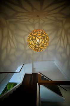 diy lamp, love the shadows - Love the stairs too.