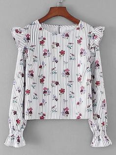 Casual Ruffle Striped and Floral Top Regular Fit Round Neck Long Sleeve Flounce Sleeve Multicolor Calico Print Ruffle Detail Striped Blouse Casual Hijab Outfit, Blouse Outfit, Casual Outfits, Casual Wear, Blouse Styles, Blouse Designs, Hijab Fashion, Fashion Dresses, Pretty Outfits