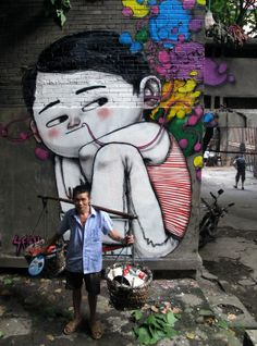 "Chongqing Boy :The French artist Julien Malland aka ""Seth"" is on a mission to cover the world with his colourful street art. Originality in Globepainter's street art is that his work incorporates local symbols and subjects from the surroundings. 3d Street Art, Urban Street Art, Amazing Street Art, Street Art Graffiti, Street Artists, 3d Art, Art Français, Art Mural, Photographie Street Art"