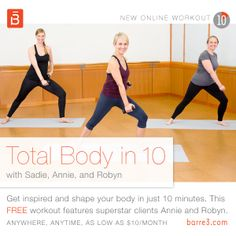 FREE 10-minute #barre3 online workout