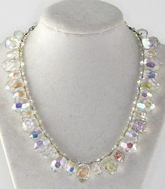 Vintage AB Faceted Crystal Drop Adjustable Length Necklace #AdjustableLength