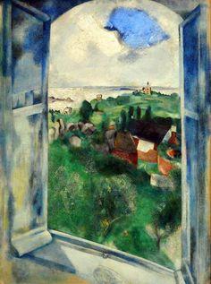 March Chagall La fenetre sur L'Ile de Brehat (1924) oil on canvas 100 x 73cm