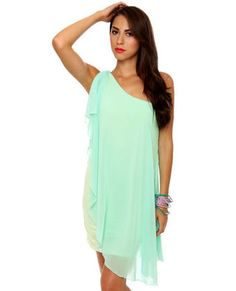 Pastel-ivision One Shoulder Mint Blue Dress ~ I'll have to keep this in mind next time I have some spending cash LOVE IT