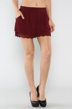 Burgundy Scalloped Chiffon Shorts Scalloped Solid Chiffon Shorts (FREE SHIPPING)