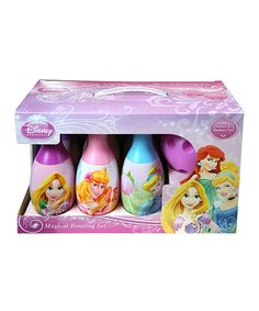 Catch a spare with this pretty princess bowling set. Complete with six graphic pins, it makes a fun game indoors or out and helps little ones practice counting, colors and hand-eye coordination.Includes six bowling pins and bowling ballPins: 7'' HBall: 4'' diameterPlasticRecommended for ages 2 years and upImported