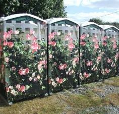 "Wraps - I think we will just paint a board or lattice ahead of time, set in place, anchor three panels with tie-wraps.  If this is too much work, you can get these in a shrink wrap type product;  Easy Wraps are 48"" x 76"" pre-printed panels w vibrant images for standard size portable restroom. Available in attractive designs for weddings & celebrations. Manufactured with a durable substrate and UV ink that resists tearing and fading."