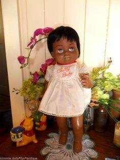 "TALKS 1960s RARE SCARCE AA Black Ethnic Hard Plastic CHATTY BABY CATHY DOLL 18"" #MATTEL"