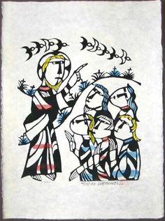 Japanese Art by the artist Sadao Watanabe | Christ Preaching 1992