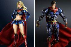 DC COMICS VARIANT SUPERMAN AND SUPERGIRL PLAY ARTS KAI ACTION FIGURES
