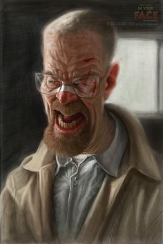 Caricature of Walter White from Breaking Bad Breaking Bad Cast, Breaking Bad Series, Caricature Artist, Caricature Drawing, Funny Caricatures, Celebrity Caricatures, Walter White, Rick And Morty Characters, Fictional Characters