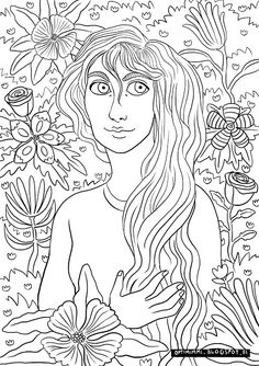 OPTIMIMMI | A coloring page of a lady and flowers / Värityskuva naisesta ja kukista