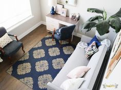 Jo's Living Room: Navy, Pink, Gold, Grey, and White! | All Things Thrifty
