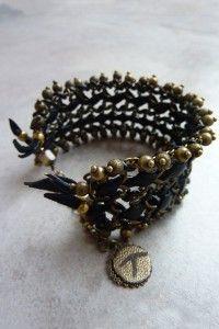 Bracelet tissé cuir FOLK large Tungstene