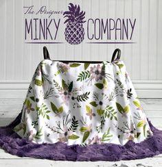 Minky Baby Blanket  Purple Sprigs  Designer by TheDesignerMinkyCo