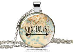 Wanderlust Vintage Map Necklace - Handmade #wanderlust