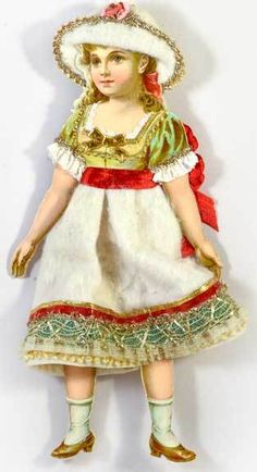 Dresden Star Ornaments - Cotton Batting Girl with Red Ribbon, SOLD… Victorian Christmas Ornaments, Christmas Paper, Christmas Crafts, Christmas Decorations, Christmas Houses, Holiday Ornaments, Christmas Stuff, Paper Ornaments, Vintage Ornaments