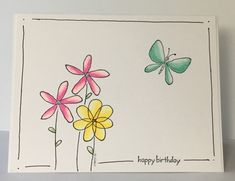 Just a very clean and simple birthday card using a very old set that's new to me. Best Friend Birthday Cards, Simple Birthday Cards, Drawn Birthday Cards, Watercolor Birthday Cards, Watercolor Cards, Cute Cards, Diy Cards, Hand Drawn Cards, Card Drawing