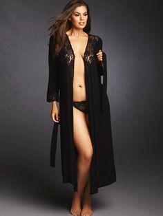 Plus Size Super Soft and Comfy Lace Trim Robe, Black
