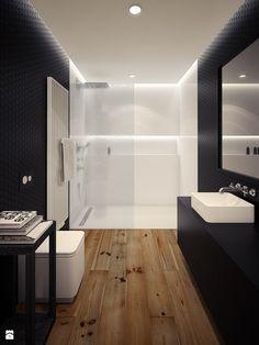 Aranżacje wnętrz - Łazienka: mieszkanie dwupoziomowe LOFT - Średnia łazienka w bloku bez okna, styl minimalistyczny - OFD architects. Przeglądaj, dodawaj i zapisuj najlepsze zdjęcia, pomysły i inspiracje designerskie. W bazie mamy już prawie milion fotografii!