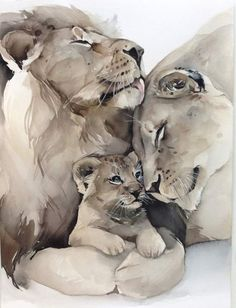 Ideas animal art painting watercolour for 2019 Art Watercolor, Watercolor Animals, Animal Drawings, Art Drawings, Drawing Animals, Lion Family, Aquarell Tattoos, Lion And Lioness, Lion Art