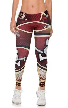 Show your love for the 49'ers in these exclusive leggings made from the highest quality material. The luxe fabric moves & stretches with you while the think flat waistband keeps your belly flat and co