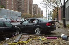 Debris in front of the ConEd substation at 14th and Ave C.(Dan Lurie / Gothamist