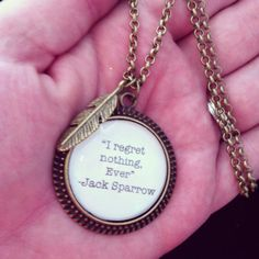 jack sparrow pirates of the Caribbean quote necklace with feather charm
