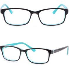 Black Cyan Acetate Plastic Women Frame Prescription Glasses Spring Loaded Hinges #Unbranded