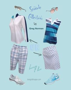 Love Blue? Then you must love our new set Seaside Greg Norman Ladies Golf Collection! #golf #polyvore #lorisgolfshoppe