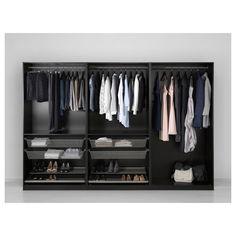 PAX Wardrobe - black-brown, Forsand black-brown stained ash effect - IKEA Ikea Pax Wardrobe, Wardrobe Storage, Wardrobe Closet, Storage Room, At Home Furniture Store, Modern Home Furniture, Ikea Bedroom, Closet Bedroom, Ideas