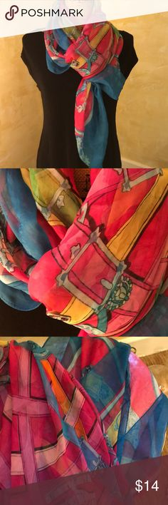 """Multi colored scarf Very large 100"""" sheer scarf.  Teal, hot pink, yellow, orange and red, super cute-NWOT's Accesrories Accessories Scarves & Wraps"""