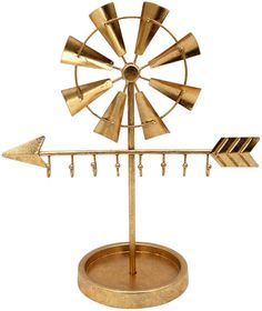 Organize your earrings, necklaces, bracelets, and rings with the Sagebrook Home Gold Metal Windmill Jewelry Holder . The metal jewelry holder. Jewelry Stand, Jewelry Holder, Metal Jewelry, Custom Jewelry, Arrow Jewelry, Home Decor Accessories, Decorative Accessories, Decoration Table, Decorative Objects