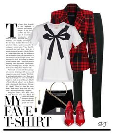 """""""My Favorite T-Shirt"""" by s-p-j ❤ liked on Polyvore featuring Yves Saint Laurent, Dolce&Gabbana, Balmain, Marc by Marc Jacobs, David Yurman and MyFaveTshirt"""