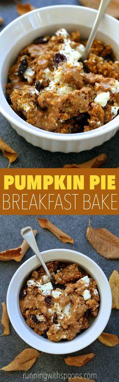 Pumpkin Pie Breakfast Bake -- soft, doughy, and loaded with pumpkin flavour! || runningwithspoons.com #pumpkin #oatmeal #breakfast